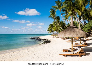 White sand beach and palm trees in Mauritius Island. Ile Maurice.
