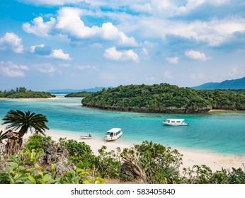 White sand beach at paradise tropical island of Ishigaki Okinawa Japan
