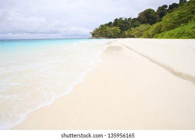white sand beach of tachai island southern thailand similan national park