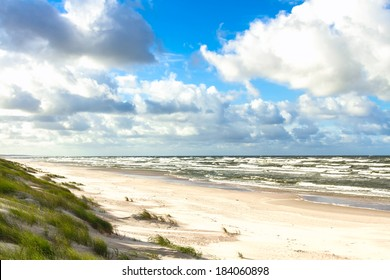 White sand beach. View to Baltic Sea Costline. Curonian Spit, Nida, Neringa, Lithuania