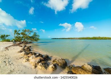 White sand in beautiful Sombrero Beach in Florida Keys, USA