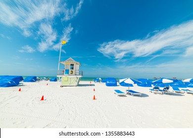 White sand and blue sky in Clearwater beach in Florida, USA