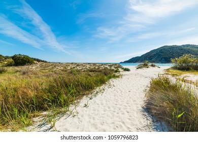 White sand in Cala Pira, Villasimius. Sardinia, Italy