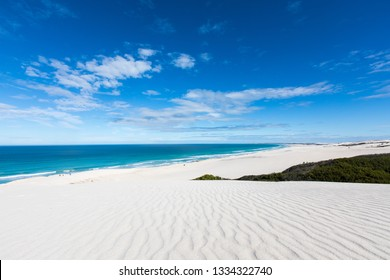 White Sand dunes and blue Ocean at De Hoop National Park, South Africa