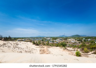 White sand dunes in La Gi, Phan Tiet area in Vietnam. Landscape with blue sky on the south of Mui Ne.