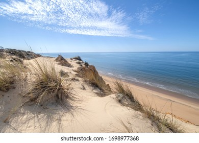 white sand dunes on the beach in Spain
