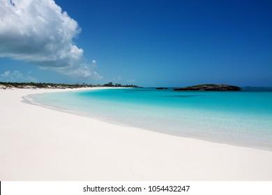 White Sand Exuma beach in Bahamas