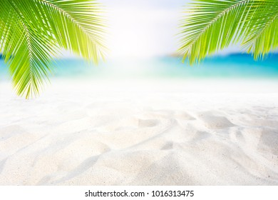 White sand on the beach and summer sky for montage or display your products
