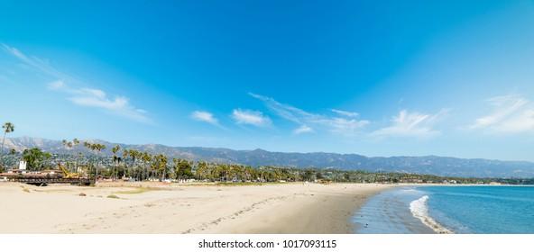 White sand in Santa Barbara shoreline, California