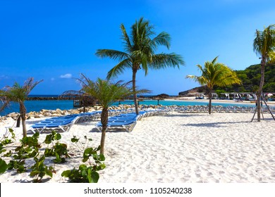 The white sand at sunny day on beach at island Labadee in Haiti