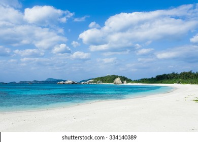White sand tropical beach with clear blue water, Tokashiki Island of the Kerama Islands National Park, Okinawa, Japan