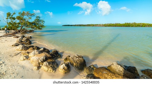White sand and turquoise water in beautiful Sombrero Beach in Florida Keys, USA