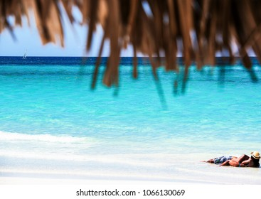 White sand and turquoise water on the Caribbean beach on Cuba Varadero
