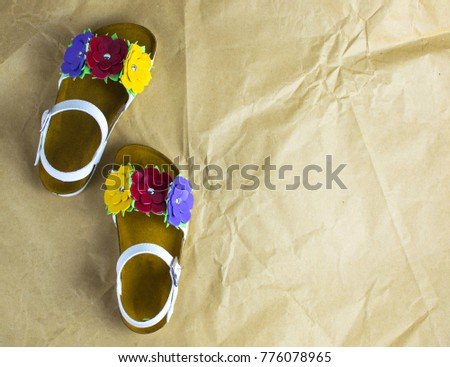 White Sandals Flowers Girls Stock Photo Edit Now 776078965