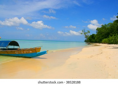 White sands beach and longtail boat - andaman island