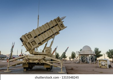 White Sands, NM / USA - 11-15-2014: The MIM-104 Patriot is a surface-to-air missile (SAM) system, the primary of its kind used by the United States Army and several allied nations.