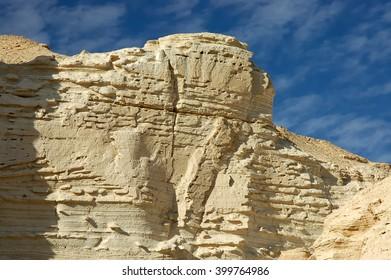 White sandstone rocks in Negev desert, Israel.