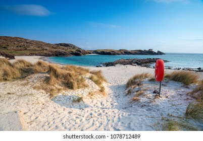 White sandy beac at Clachtoll in the highlands of Scotland