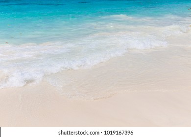 It is a white sandy beach. Blue sea water is very clear, Andaman sea,Phangnga,Thailand