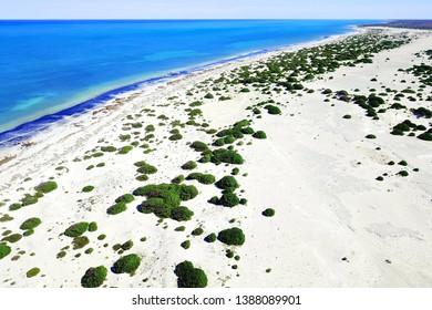 White sandy beach and coastal dunes in Australia