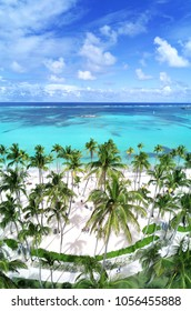 White sandy beach with palm trees at Bavaro Beach, Punta Cana, Dominican Republic