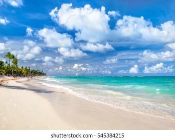 White sandy tropical beach in Punta Cana, Dominican Republic