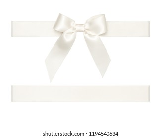 White satin ribbon bow cut out isolated on white background, gift wrapping assets