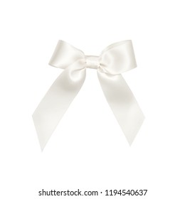 White satin ribbon bow cut out isolated on white background, gift wrapping silk bow