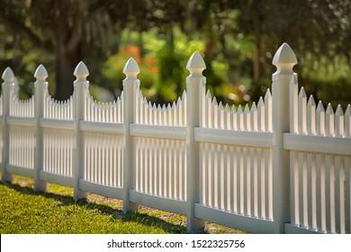 White Scalloped Vinyl Picket Fence