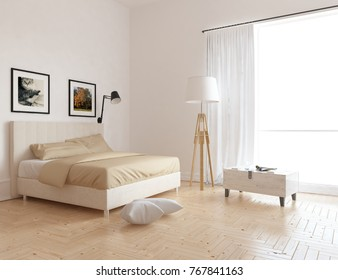 White scandinavian bedroom interior. Home interior. 3d illustration