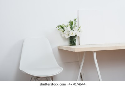 White scandinavian interior decor closeup