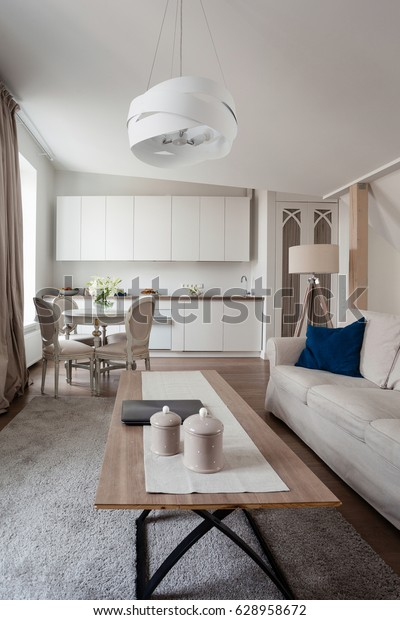 White Scandinavian living room interior