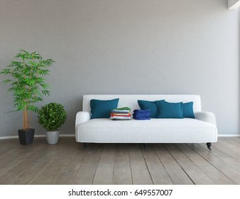 white scandinavian room with furniture. 3d illustration