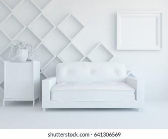 white scandinavian room interior. 3d illustration