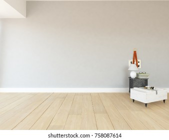 White scandinavian room interior. Nordic interior. 3d illustration