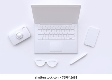 white scene abstract laptop camera glasses pen smart phone 3d rendering technology concept