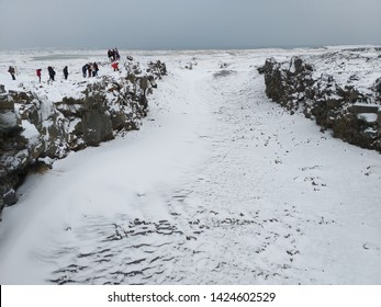 White scene of snow cover a rift valley at the boundary of the two continental tectonic plates beneath the Earth's crust meet – the North American plate to the west and the Eurasian plate to the east