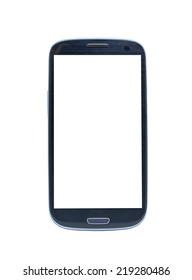 white screen smartphone on white background