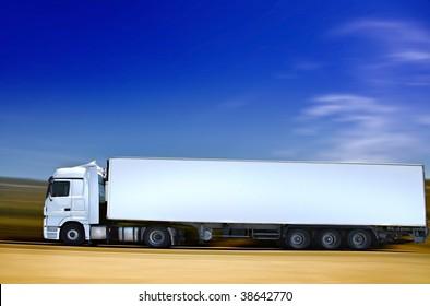 white semi-truck on road