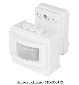 white sensor motion isolated on white background. detector movement