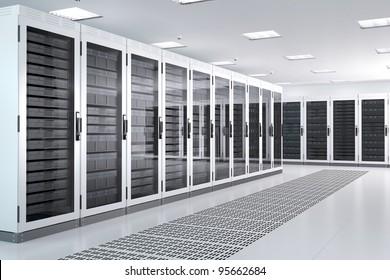 White Server Room Network/communications server cluster in a server room. CG Image.