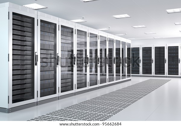 White Server Room Network/Communications Server Cluster in einem Serverraum. CG-Bild.
