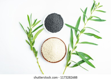 White sesame and black sesame on white background