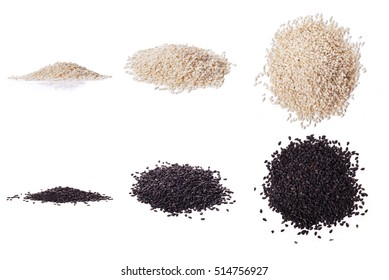 White sesame and black sesame seed isolated on white background. three types of view
