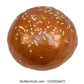 White sesame bun for hamburger bun isolated on white background