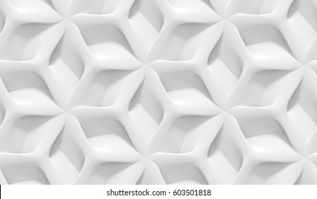 White shaded abstract geometric pattern. Origami paper style. 3D rendering background.