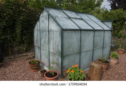 White Shading Paint Covering a Greenhouse to Protect Plants from Bright Sunlight and Hot Weather on an Allotment in a Vegetable Garden in Rural Devon, England, UK