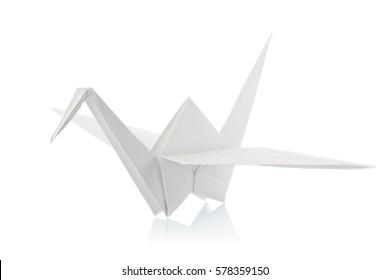 White shadoof of origami, isolated on background.