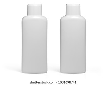 white shampoo bottle isolated on white background