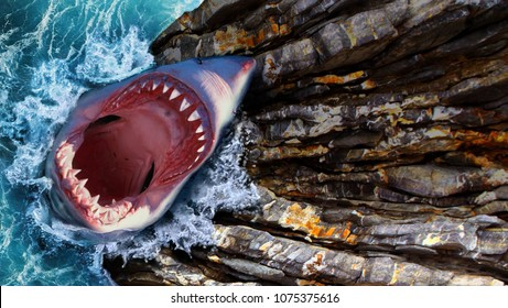 white shark with an open mouth jumps out of the water. Steep cliffs and raging waves, sea and mountains. Mouth full of sharp teeth.